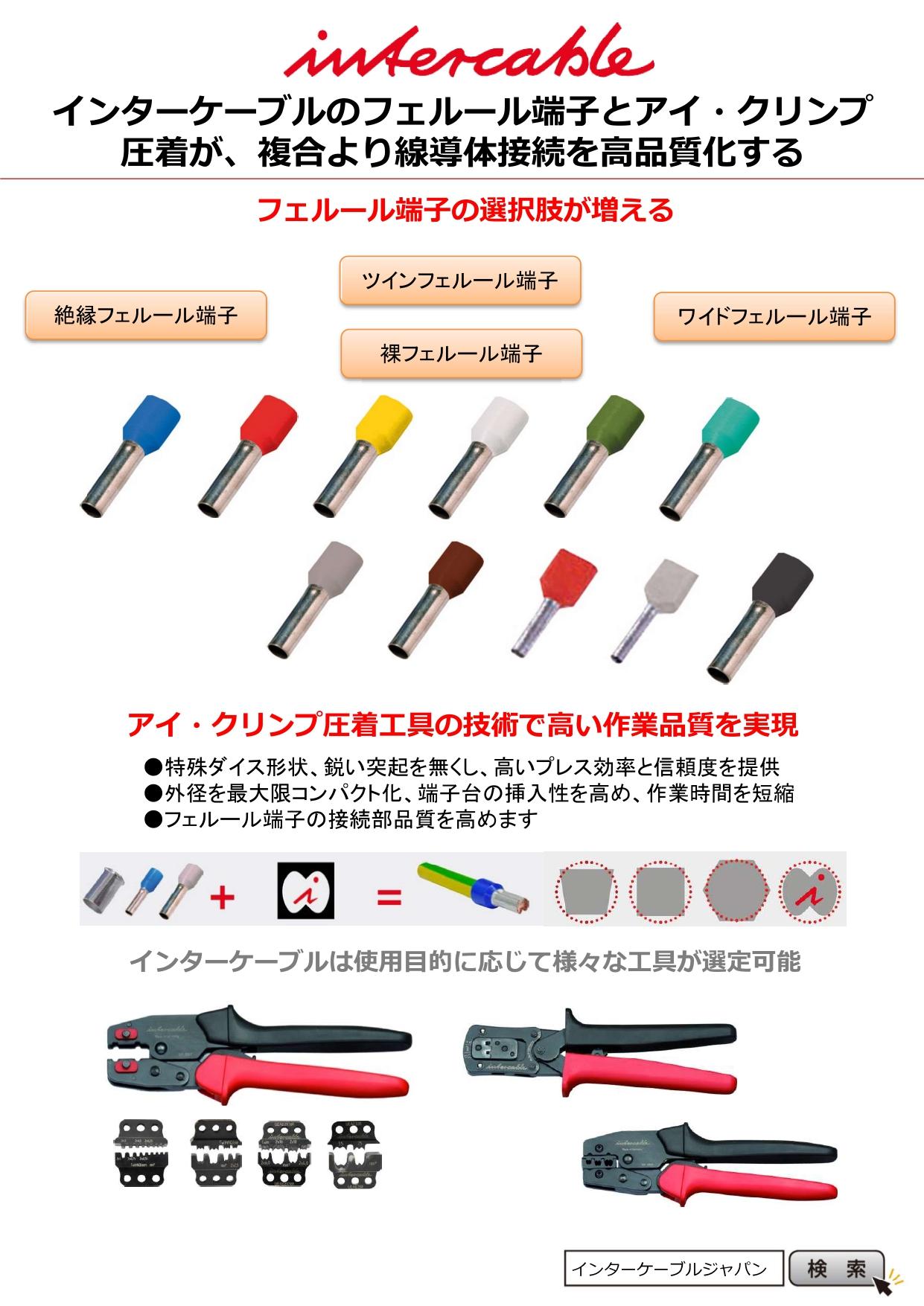 普及が進むプッシュイン端子台に対応! インターケーブルのフェルール端子&アイ・クリンプ工具